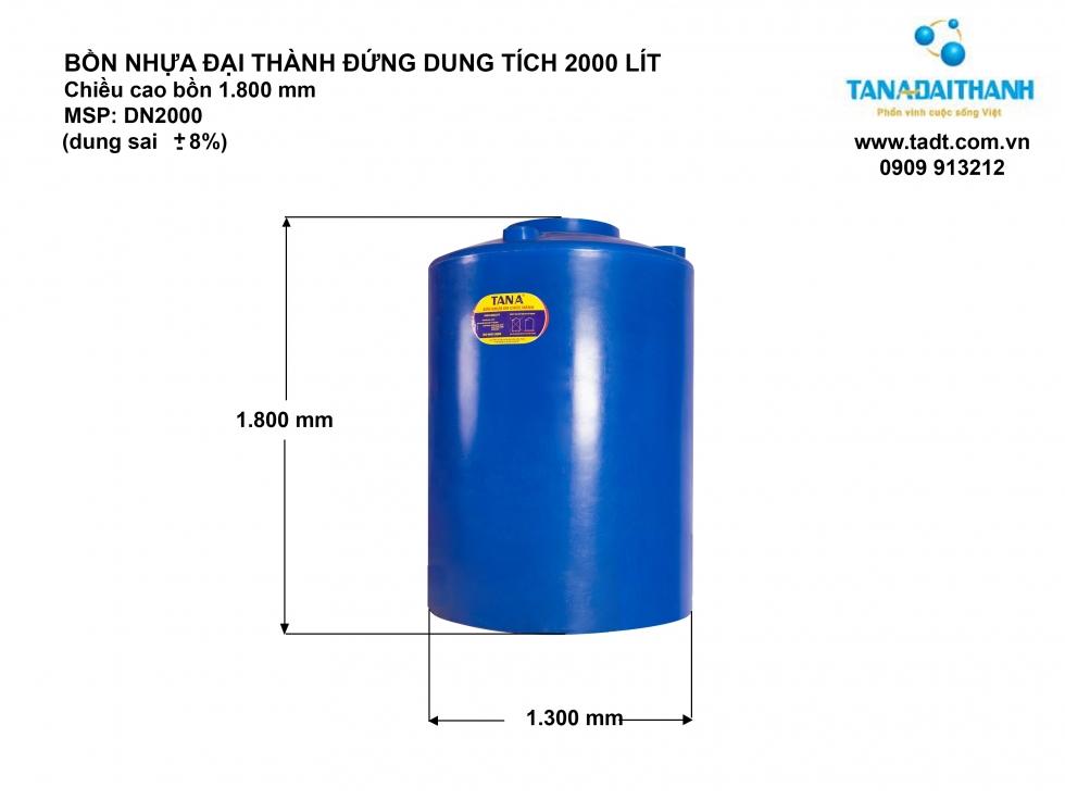 Thông số kỹ thuật bồn nhựa 2000L