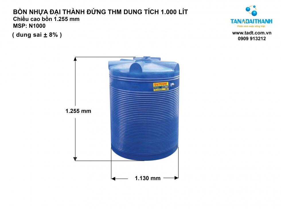 Kích thước bồn nước nhựa 1000 lít đứng